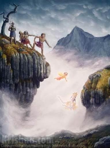 Hiranyakasipu has Prahlada thrown from a cliff