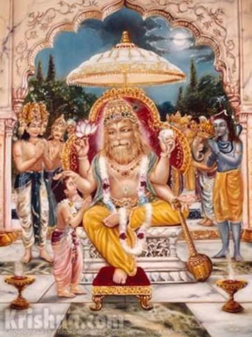 Lord Nrsimhadeva benedicts Prahlada Maharaja