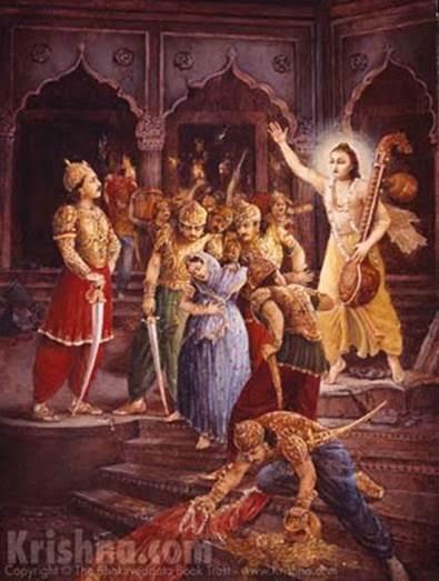 Narada Muni instructs the demigods to release Hiranyakasipu's pregnant wife
