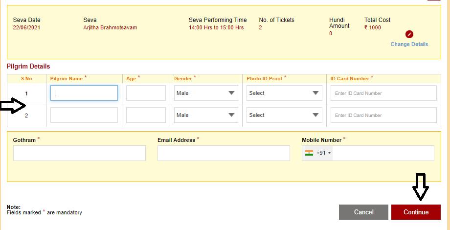 TTD Online Seva Enter Pilgrims Information