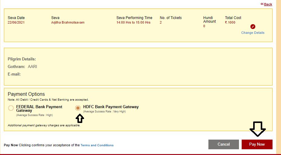 TTD Online Seva Payment Summary