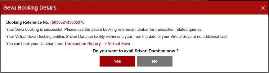 TTD Seva Darshan Booking Popup